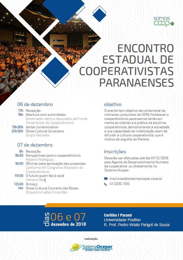 ENCONTRO ESTADUAL  Cooperativistas de todo PR vão se reunir em Curitiba nos  dias 6 e 7 de dezembro c35e7e1e87